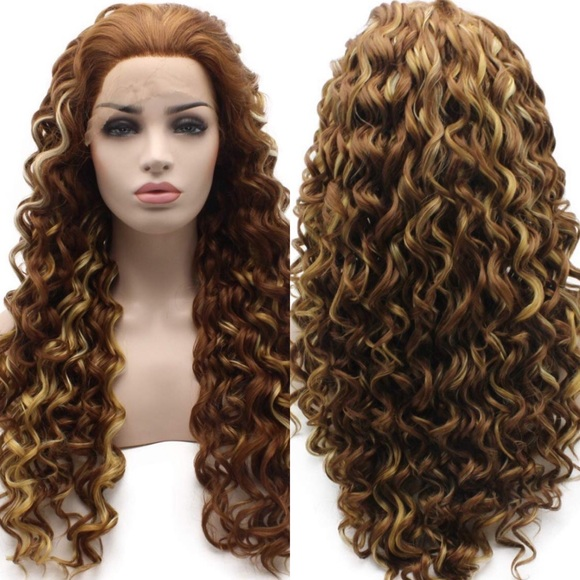"""Accessories - 💕 💕24"""" AUBURN HIGHLIGHTS CURLY LACE WIG 💕 *NWT*"""
